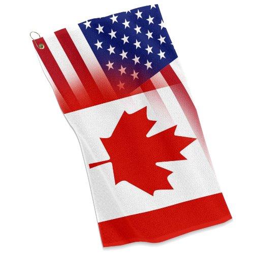 - Golf / Sports Towel - Flag of Canada & USA - Canadian