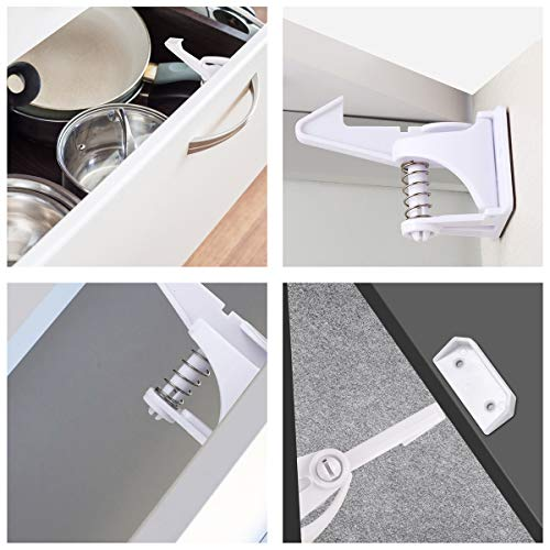 Cabinet Locks Child Safety Latches - 12 Packs Baby Proofing Cabinets Drawer Lock, No Tool No Key Needed Safety Drawer Locks for Drawers, Cabinets, Closets by Combofix (Image #1)