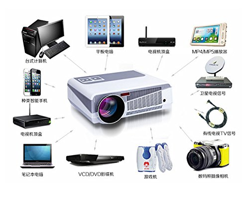 LCD LED 3000ルーメンAndroidスマートLCDテレビledプロジェクターフルHDサポートWifi Bluetooth1280 * 800 3Dホームシアタープロジェクタービデオゲームプロジェクタービーマー B0777GJN6K