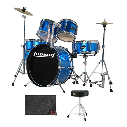 Ludwig Junior 5 Piece Drum Set with Cymbals (Blue) with Tama HT130 Standard Double Braced Leg Throne and Kaces KCP45 - Kaces Econo Drum Rug