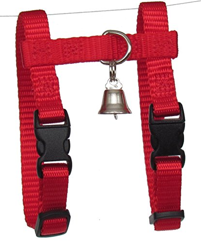 """Sandia Pet Products 3/8"""" REGULAR Red Ferret Harness with Bell - Adjustable"""
