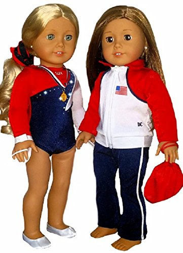 [Doll Gymnastics Clothes for American Girl Outfit Includes Jacket Yoga Pants Hand Grips Medal Slippers Olympic Team Sparkly USA Dance Cheer Leotard and Hair Accessory (7 Piece Set)] (Holiday Recital Costumes)