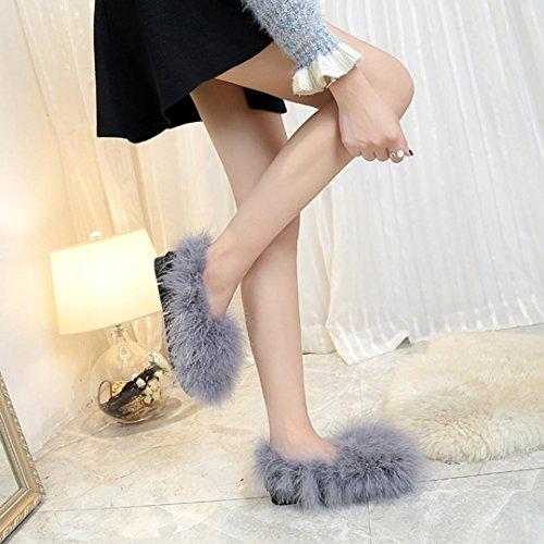 Vendita Calda Dellamiley Caldo Soffice Pelliccia Ecologica Donne Morbide Pantofole Coperte Sandali Infradito Sandalo Grigio