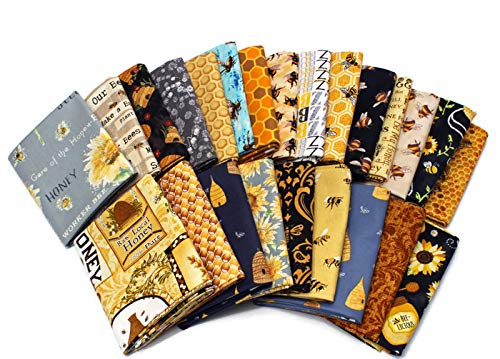 Assorted Fat Quarters - 10 Fat Quarters - Honey Bee Bumblebee Save The Bees Apiary Beekeeper Honey Comb Hive Skep Beekeeping Beeswax Insects Quality Quilters Cotton Assorted Fat Quarter Bundle M229.03