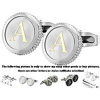GGemony Cufflinks for Men Classic Engraved Initial Cufflinks Alphabet Letter Cufflinks Formal Wedding Business A-Z