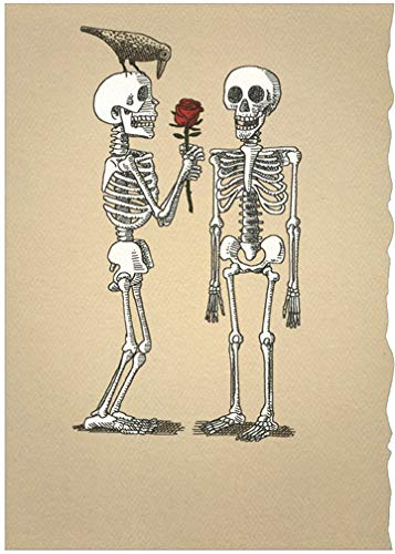 Two Skeletons with Rose Romantic Halloween Card - Recycled Paper Greetings]()