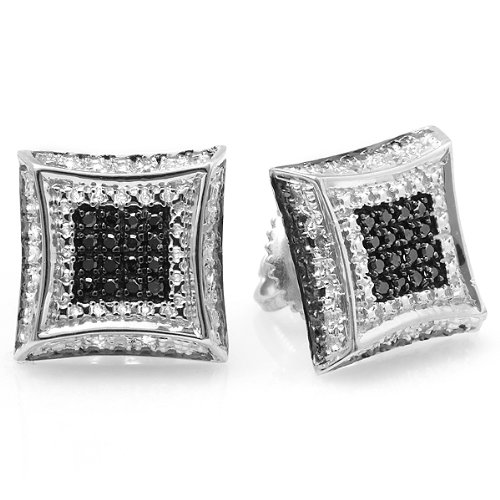 0.15 Carat (ctw) 10K White Gold White & Black Round Diamond Micro Pave Setting Kite Shape Stud Earrings by DazzlingRock Collection