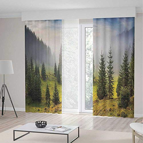 iPrint Farm House Decor Blackout Curtains,Fir Trees on Meado