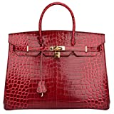 Ainifeel 40cm Oversized Patent Leather Padlock Handbag Business Purse (40cm OVERSIZE, Claret red)