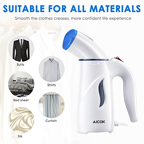 Clothes Steamer, Aicok Travel Garment Steamer, 4-in-1 Fabric Steamer, Powerful Wrinkle Remover for Clothes Ironing, Cleaning, Sterilization and Fabric Soften by AICOK (Image #2)