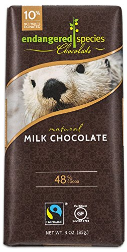 Endangered Species Sea Otter, Natural Milk Chocolate (48%), 3-Ounce Bars (Pack of 12) Gluten Free Chocolate Milk