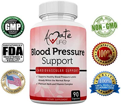 Amate Life Blood Pressure Support Supplement with Vitamin B12 (Cyanocobalamin), Folic Acid, Garlic, Hibiscus & Olive Leaf - Cardiovascular Health Pills Balances Blood Pressure Within Normal Range-90 C