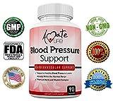 Amate Life Blood Pressure Support Supplement with Vitamin B12 (Cyanocobalamin), Folic Acid, Garlic, Hibiscus & Olive Leaf – Cardiovascular Health Pills Balances Blood Pressure Within Normal Range-90 C
