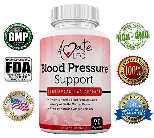 Amate Life Blood Pressure Support Supplement with Vitamin B12 (Cyanocobalamin), Folic Acid, Garlic, Hibiscus & Olive Leaf - Cardiovascular Health Pills Balances Blood Pressure Within Normal Range-90 C