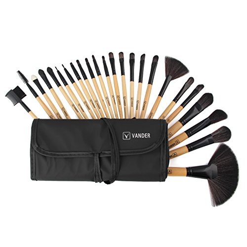 Vander Makeup Brush Set 24pcs Essential Cosmetics with Case Premium Pieces Professional Makeup Brushes, Powder Eyeliner Eye Shadow Lip Foundation Blush Brushes (wood)