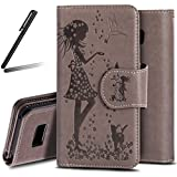 Galaxy S8 2017 Stand Case,Samsung Galaxy S8 Wallet Case,SKYMARS Cute Girl And Cat Embossed PU Leather Flip Kickstand Cards Slot Wallet Magnetic Closure Book Style Protection Case for Samsung Galaxy S8 girl Grey