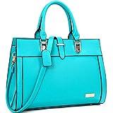 Dasein Designer Top Handle Faux Leather Work Satchel, Shoulder Bag, Handbag, Tablet Bag, iPad Bag (8185- Blue)