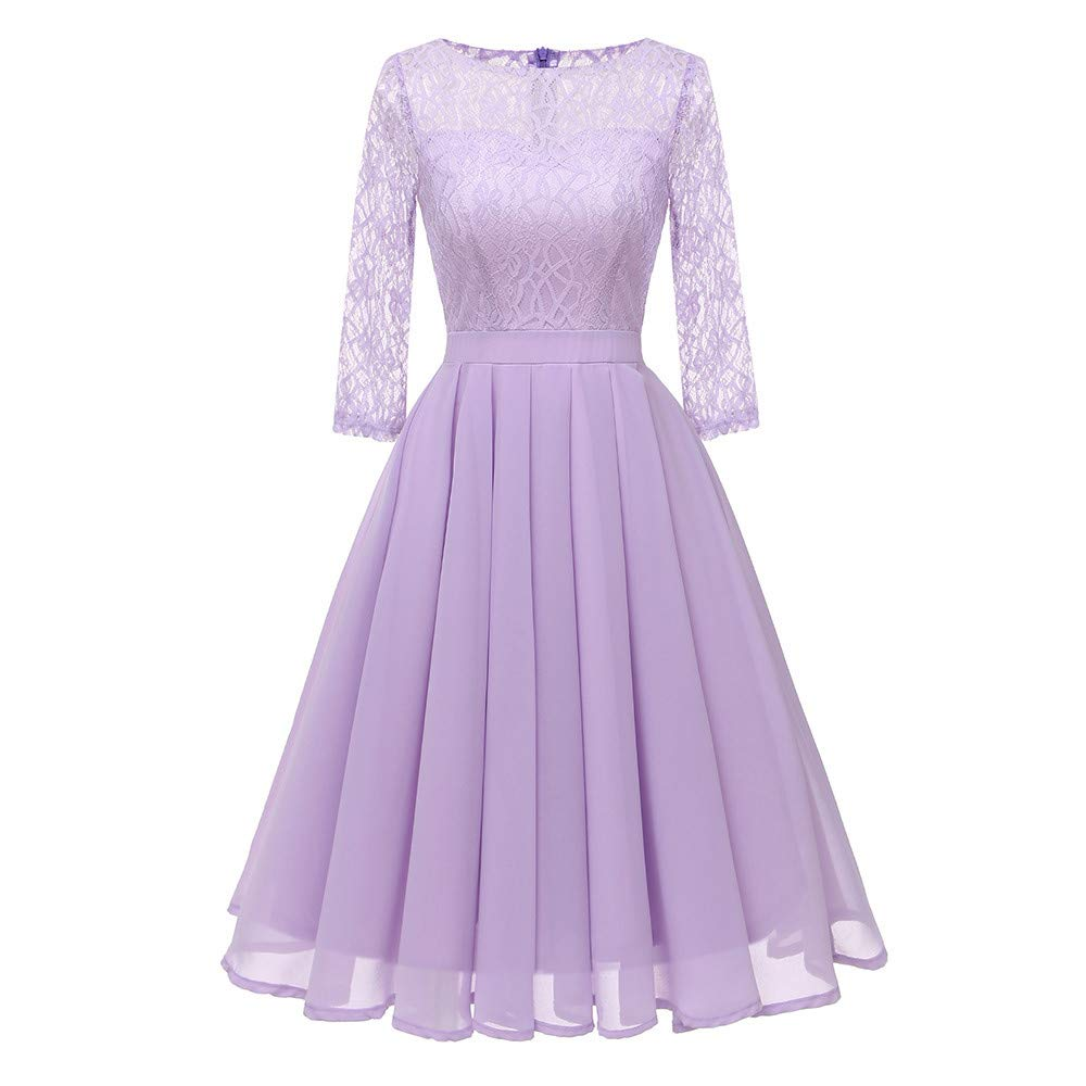 DEATU Clearance Womens Dresses Ladies Vintage Princess Floral Lace Cocktail O-Neck Party A-line Elegant Swing Dress(Purple,S)
