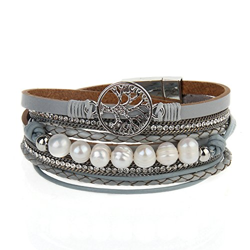 Jenia Leather Bracelet Pearl Wristband product image