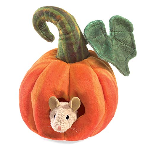 Folkmanis Mouse in Pumpkin Finger Puppet from Folkmanis