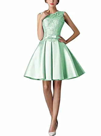 Women s O-Neck Embroidery Lace Pockets Satin Short Prom Dresses Cocktail  Dress Mint 065d6e759