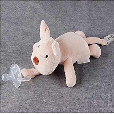 1 pc Baby Pig Pacifier Holder Detachable Pacifier Soft Plush Stuffed Animal Toys with Tail Clip for Infants Silicone Pacifier Gift for Baby : Baby