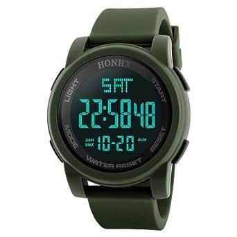 SMEI Moda Deporte Reloj Hombres Al Aire Libre Relojes Digitales Led Impermeable Militar Electrónico Reloj Pulsera Hombres Verde: Amazon.es: Relojes
