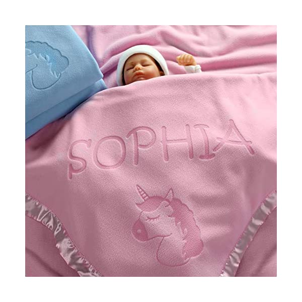 Custom Catch Personalized Unicorn Baby Blanket - Gift for Girl - Newborn or Infant - Pink or Blue (1 Line of Text) 2