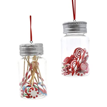 Amazon Com Homeford Hanging Candy Jar Christmas Ornament Clear 3
