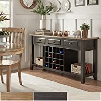 iNSPIRE Q Eleanor Two-Tone Wood Wine Rack Buffet Server by Classic Oak Oak Finish