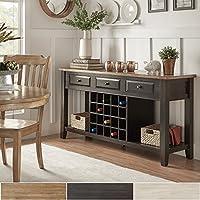 iNSPIRE Q Eleanor Two-Tone Wood Wine Rack Buffet Server by Classic Oak Oak Finish