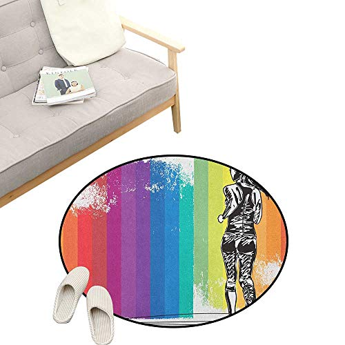 (Olympics Kids Round Rug ,Female Marathon Runner Illustration on Vertical Stripes in Rainbow Colors, Sofa Living Room Bedroom Modern Home Decor 31