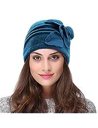 VBIGER Womens Wool Cloche Beret Bucket Hat Floral Trimmed Fedora Hats