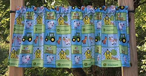 John Deere Drapes (Handcrafted Valance Sewn From John Deere Baby Farm Nursery Blue & Green Fabric)