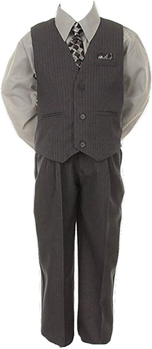 Stylish Dress Suit Outfit Pant,Vest /& Tie Set-Baby Boys Thru Size 7-Grey//Silver