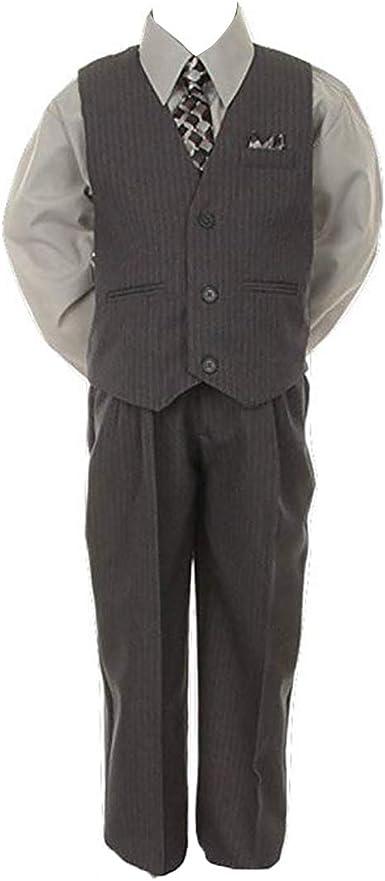 Stylish Dress Suit Outfit Pant,Vest /& Tie Set-Baby Boys Thru Size 7-Grey//Silver