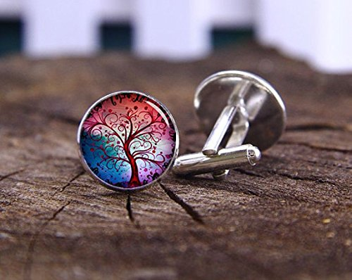 Tree Of Life Cufflinks, Silver Plated Cuff Links, Life Tree Cufflinks, Wedding Gifts, Father's Day Gifts, Life Tree Cuff - Silver Plated Amethyst Cufflinks