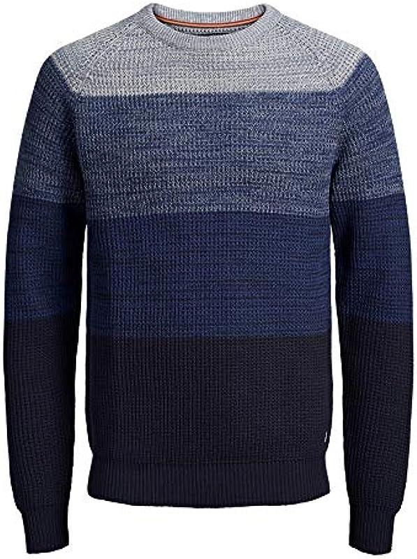 Jack&Jones sweter chłopcy długi rękaw niebieski 12152937 JPRBLOCK Knit Crew Neck JUNIO China Blue, kolor: niebieski , rozmiar: 140: Odzież