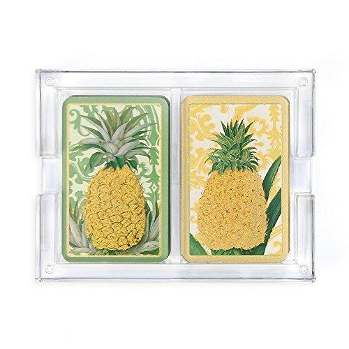 Caspari HPC114SET Royal Pineapple Bridge Playing Card Set with with Acrylic Holder,