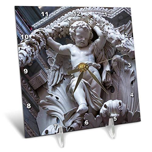 (3dRose Danita Delimont - Sculptures - Netherlands, Amsterdam. Cherub Sculpture - 6x6 Desk Clock (dc_313795_1) )