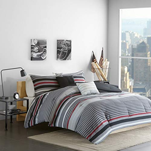 Kaputar Beautiful Modern Grey RED Black Chic Stripe Boys Comforter Set Pillows | Model CMFRTRSTS - 2219 | Twin Extra ()