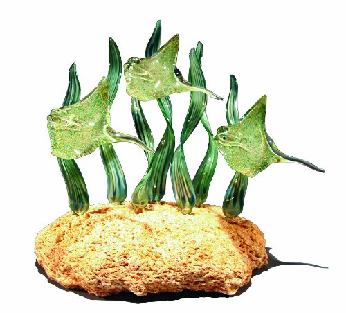 Triple Green Stingray Glass Sculpture (Green Reeds) on Coquina Rock