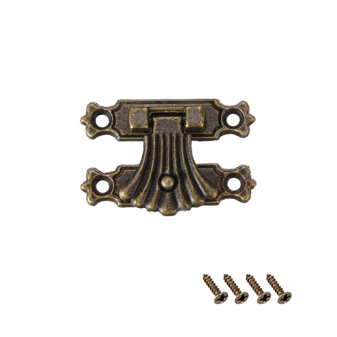 sourcing map 2 Juegos Pestillos Pasador de Caja Cofre de madera Cierre de Carcasa tipo broche tono bronce 37 x 27mm