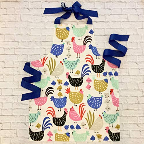 Colorful Chicken and Rooster Kitchen Craft Apron Gift for Girls from Sara Sews, Inc.