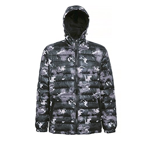 2786 Mens Hooded Water & Wind Resistant Padded Jacket Camo Green