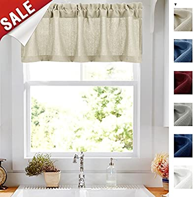 Swell 18 Inch Valances For Windows Privacy Casual Weave Semi Sheer Kitchen Curtain Valance Beige 1 Panel Home Interior And Landscaping Thycampuscom