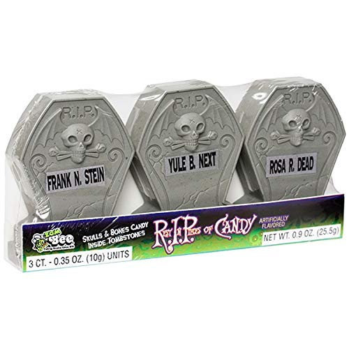 Halloween Rest in Pieces Tombstones w/Candy, 12-3 in a pack Display Box ()