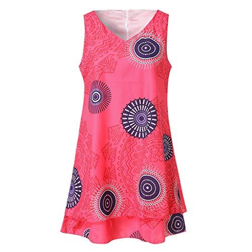 TOTOD Dress for Women,Plus Size Boho Print Mini Dress Loose Shift Sleeveless Tank Vest Sundress US 4-18 Hot Pink ()