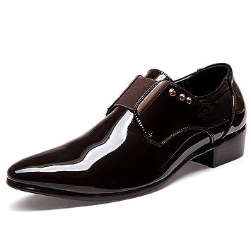 HILOTU ¡Despeje! Zapatos de Vestir de Esmoquin en Punta para Hombre Ocasional Slip-on Loafer La Moda de Charol Oxford (Color : Marrón, tamaño : 39 EU)