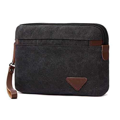 Canvas Wristlets Bag Large Clutch Bag Wallet Purse Zipper Pouch Handbag Organizer with Leather Strap Wristlet Purse for Men (Black)